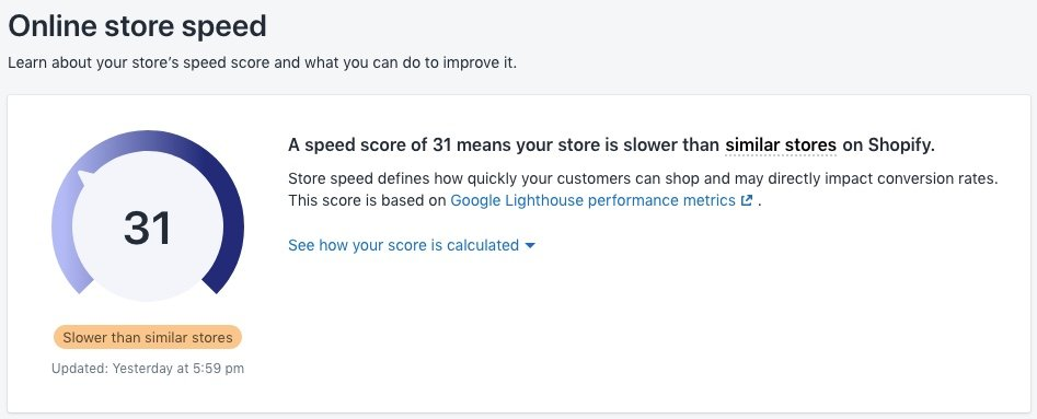 Speed Score